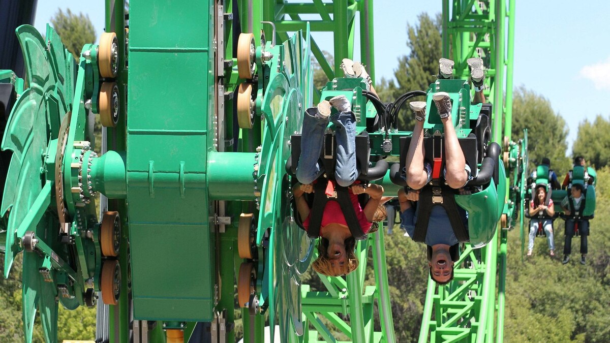 Green Lantern: First Flight thrills at Six Flags Magic Mountain, a park that boasts more roller coasters than any park in the world.