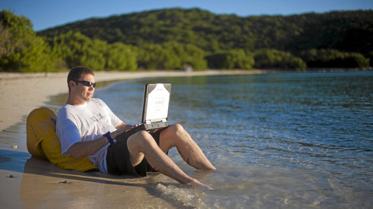 Conservationist, thrill-seeker, and Animal Planet show host Donald Schultz is seen here with his Panasonic Toughbook.