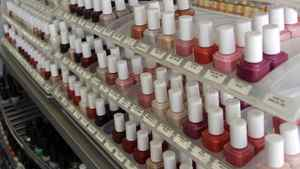 Nail care products are displayed at a beauty supply shop in San Francisco, Monday, April 9, 2012.