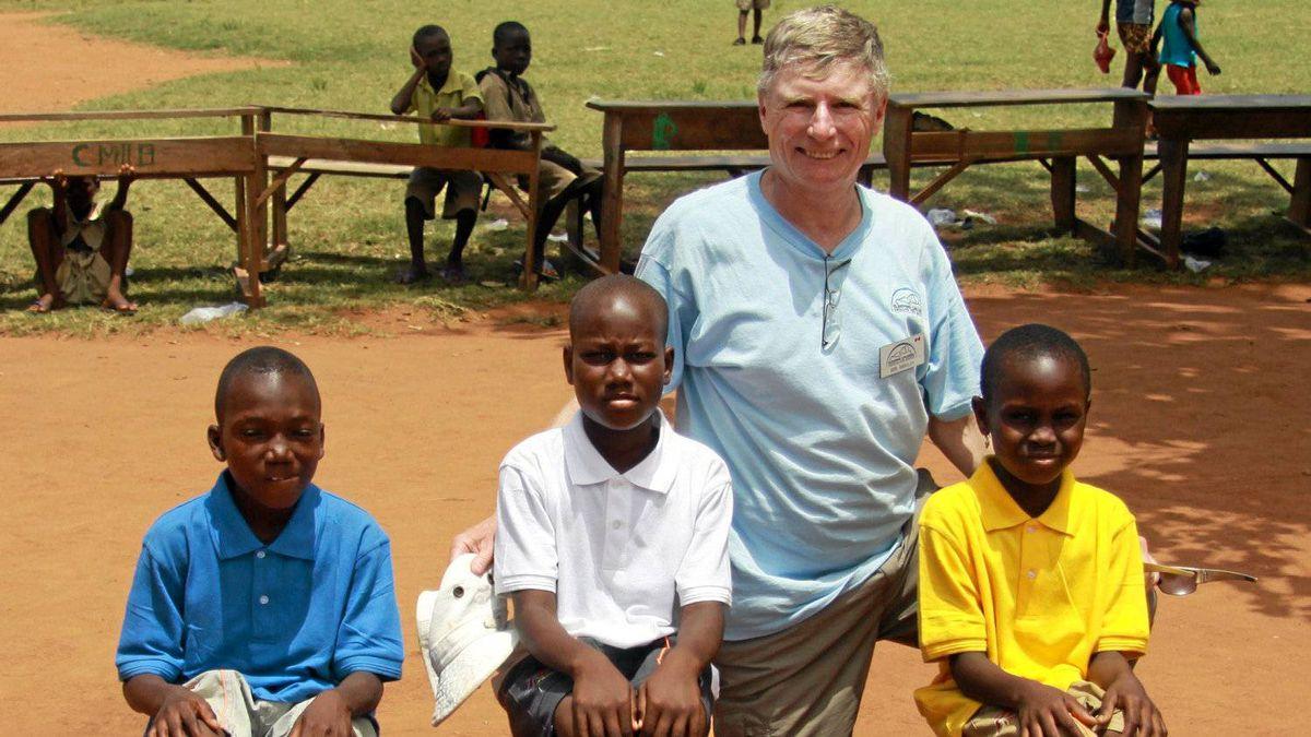 Bob Barclay at a school in Avenou, Togo