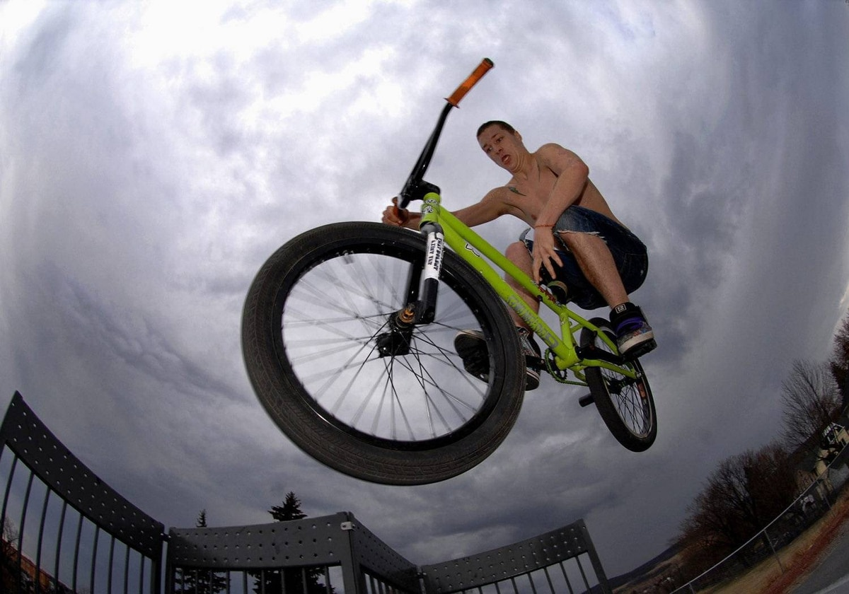 Frank Scanlon, 18, of Jermyn, Pa., takes to the air on his freestyle bike as he glides off a ramp on Monday, March. 19, 2012 at Carbondale State Park on Belmont Street in Carbondale, Pa.