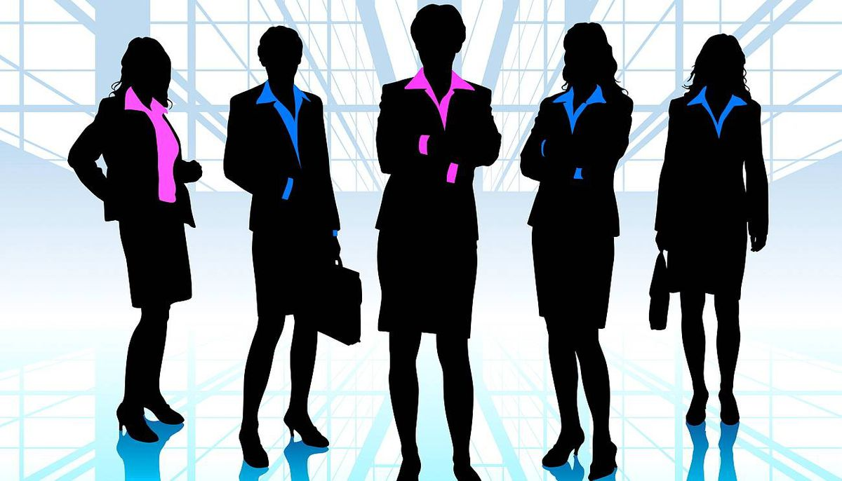 Female corporate silhouettes. iStockphoto