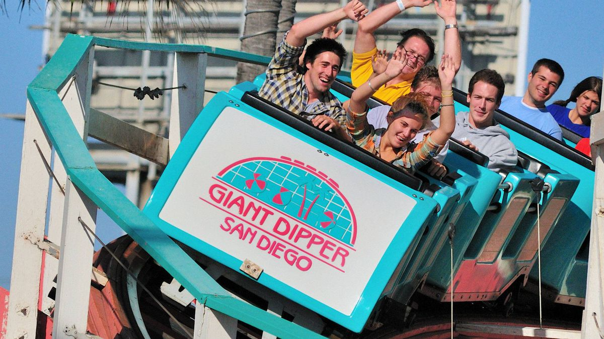 At Belmont Park, I rode the 1925-built Giant Dipper wooden roller coaster - twice. Delightfully bumpy, it's an American Coaster Enthusiasts Roller Coaster landmark.
