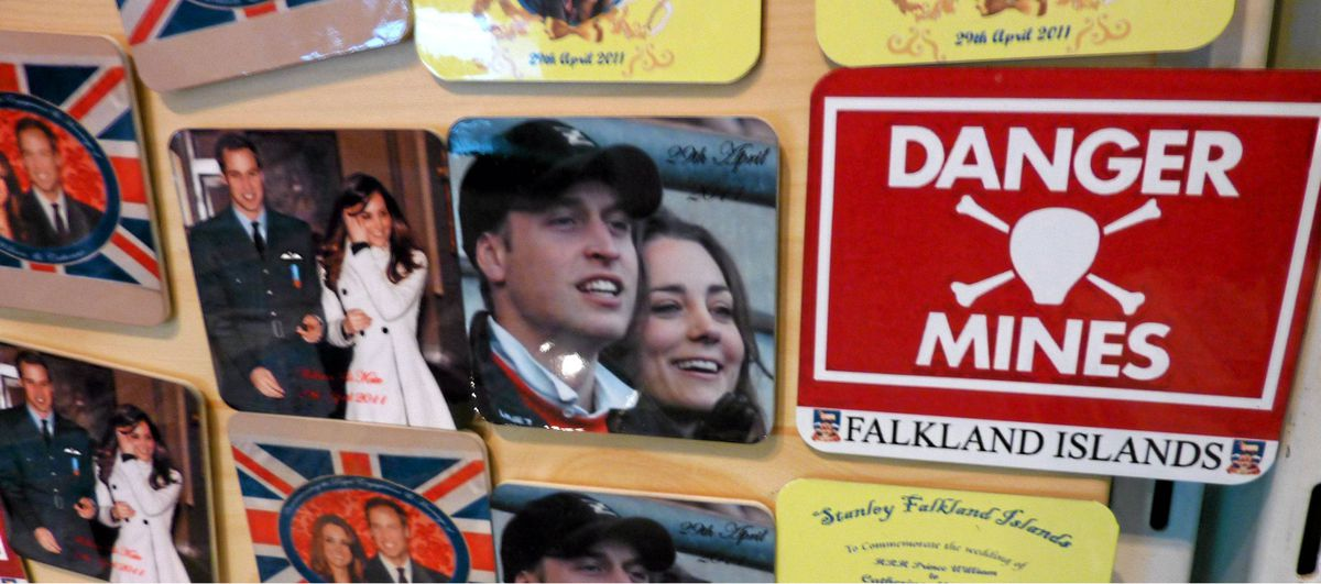 Magnets commemorating the Royal wedding of Britain's Prince William and Katherine Middleton are displayed for sale at the Pod gift shop in Stanley, Falkland Islands.