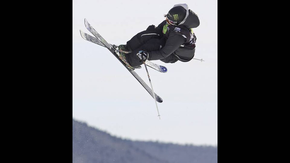 J.F. Houle of Drummondville, Que. jumps to eighth place in slopestyle final action at the Winter Dew Tour in Killington, Vermont, Sunday, Jan. 22, 2012.