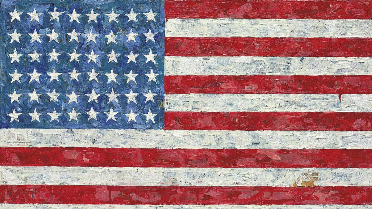 """This undated photo provided by Christie's auction house shows Jasper Johns' """"Flag,"""" a pop art rendition of the American flag created in the 1960s that author Michael Crichton bought from the artist in 1973."""