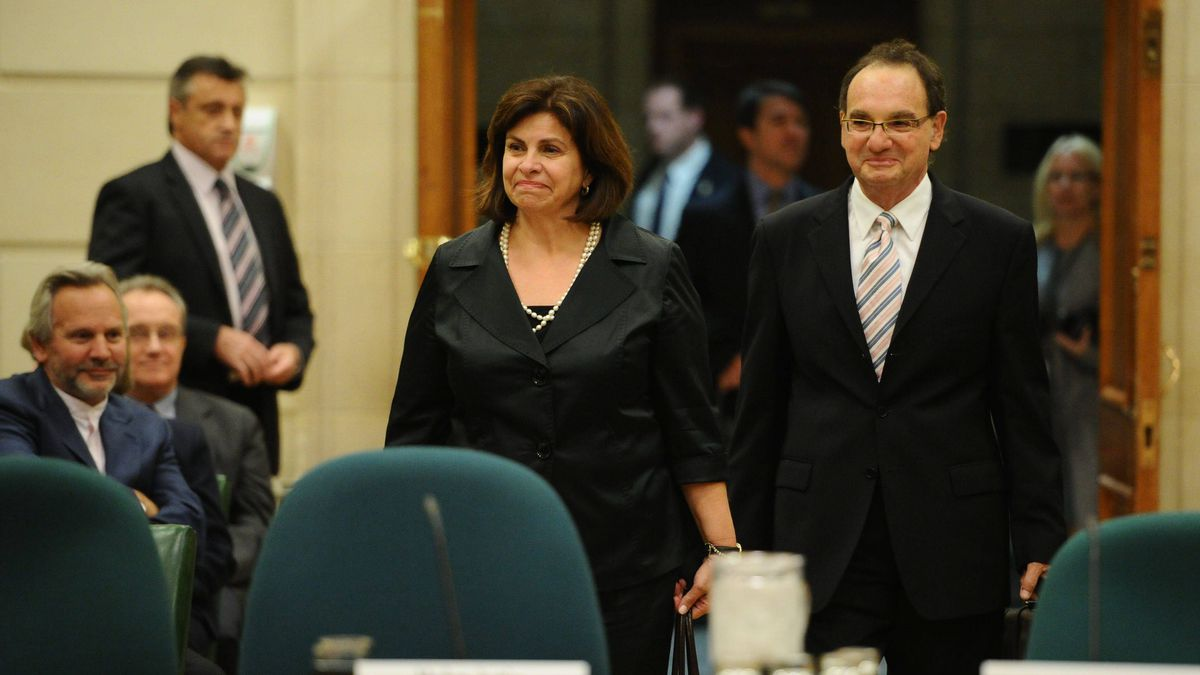 Mr. Justice Michael Moldaver and Madame Justice Andromache Karakatsanis appear at a hearing at Parliament Hill in Ottawa on Oct. 19, 2011.