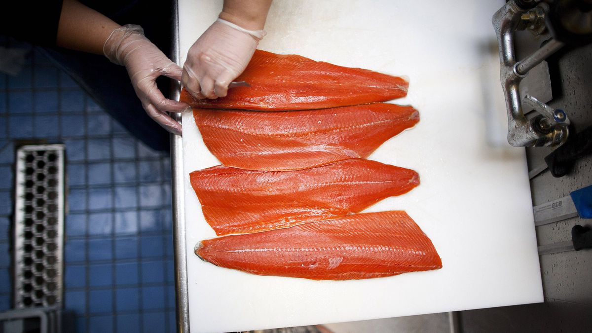 Alanna Kariotakis pin-bones Sockeye Salmon fillets at the Salmon Shop on Granville Island in Vancouver.