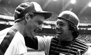 Montreal Expos pitcher Charlie Lea (left) is congratulated by catcher Gary Carter after Lea fired a no-hitter, the third in team history, against the San Francisco Giants in Montreal, May 10, 1981. It is looking more and more that the 36-year existence of the Montreal Expos is coming to an end and that their final home game will be Wednesday night at Olympic Stadium.