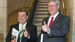 Finance Minister Jim Flaherty and Prime Minister Stephen Harper make their way to the House of Commons to deliver the budget speech, Monday June 6,2011 in Ottawa.
