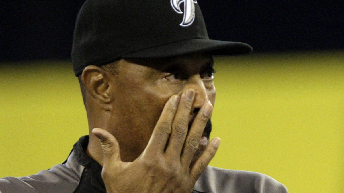 Cito Gaston wipes a tear during a pre-game ceremony for retiring Manager Cito Gaston of the Toronto Blue Jays as they play the New York Yankees during a MLB game at the Rogers Centre September 29, 2010 in Toronto, Ontario, Canada. (Photo by Abelimages/Getty Images)