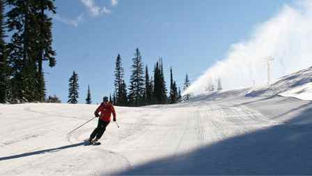 Nancy Greene tests a run at Sun Peaks, which opened earlier this week.