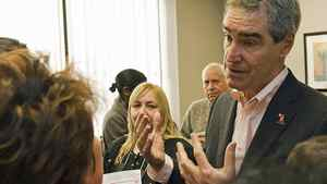 Liberal Leader Michael Ignatieff meets with Etobicoke-Lakeshore constituents at his new Toronto office on Jan. 22, 2011.