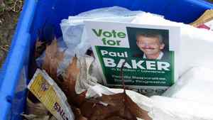 A photo taken by a Toronto resident shows Green Party fliers in a trash bin on April 22, 2011.