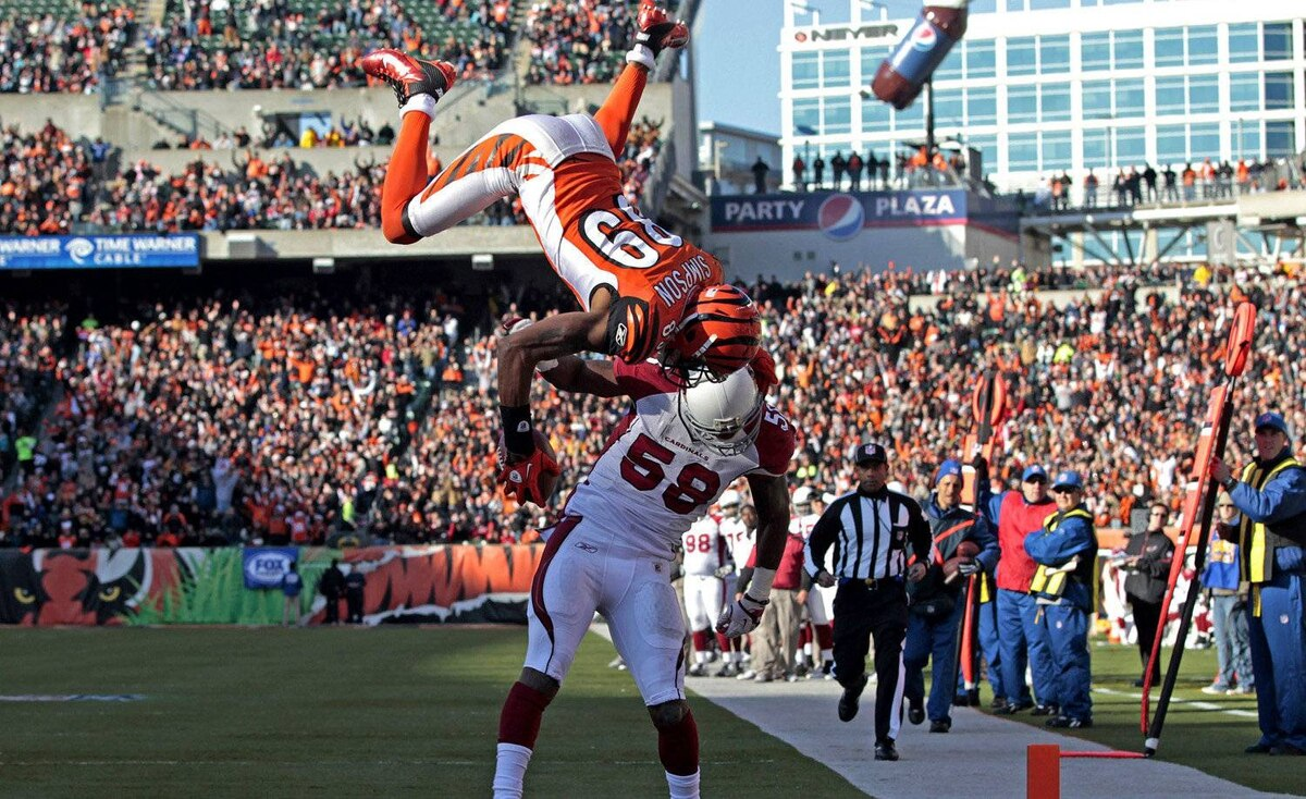 Cincinnati Bengals wide receiver Jerome Simpson flips over Arizona Cardinals linebacker Daryl Washington for a touchdown in the first half of an NFL football game, Saturday, Dec. 24, 2011, in Cincinnati. The Bengals won 23-16 to keep playoff hopes alive.