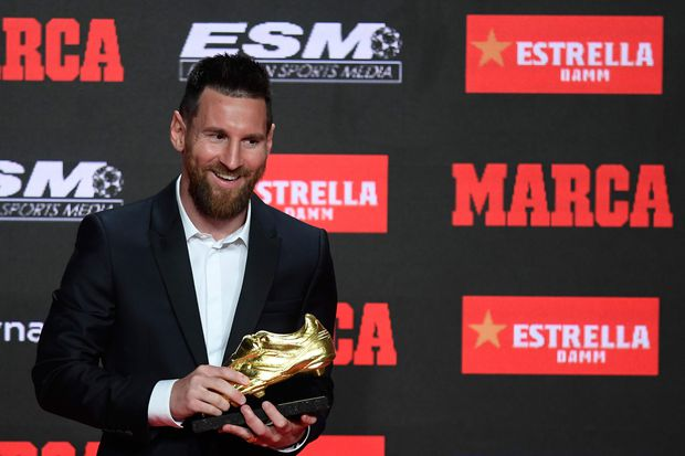 Lionel Messi receives record sixth European Golden Shoe