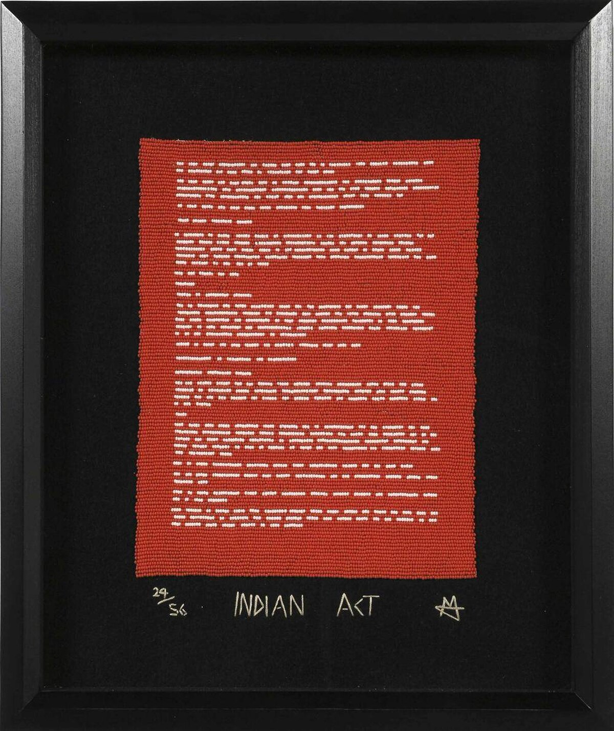 Nadia Myre, Indian Act, 2000-02. Glass beads, stroud cloth, thread and downloaded copies of the text of the Indian Act (chapter