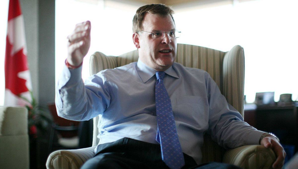 Foreign Affairs Minister John Baird gestures during an interview in his office in Ottawa.