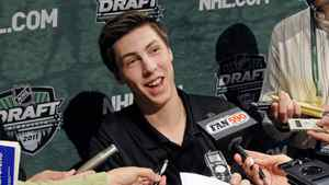 Ryan Nugent-Hopkins, a top NHL draft prospect, speaks with reporters Thursday, June 23, 2011, in Minneapolis, the day before the NHL entry draft Friday in St. Paul, Minn.