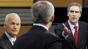 Liberal leader Michael Ignatieff (R) makes a point to Conservative Party leader and Prime Minister Stephen Harper (C) as New Democratic Party Jack Layton listens in during the English leaders' debate in Ottawa April 12, 2011. Canadians will head to the polls in a federal election on May 2.
