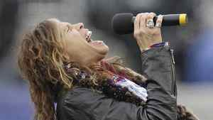 Aerosmith singer Steven Tyler sings the national anthem before the AFC Championship NFL football game between the Baltimore Ravens and the New England Patriots Sunday, Jan. 22, 2012, in Foxborough, Mass.