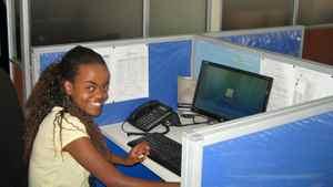 Vanessa Kanyi at her workstation in Nairobi, Kenya.
