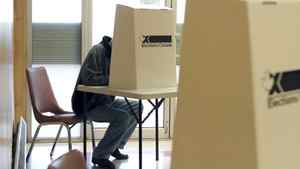 A voter fills out his ballot at the Moncton Lions Community Centre in Moncton, NB, on Monday, May 2.