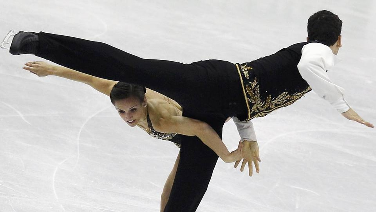 Meagan Duhamel and Eric Radford of Canada perform during the pairs short program at the ISU World Figure Skating Championships in Nice.
