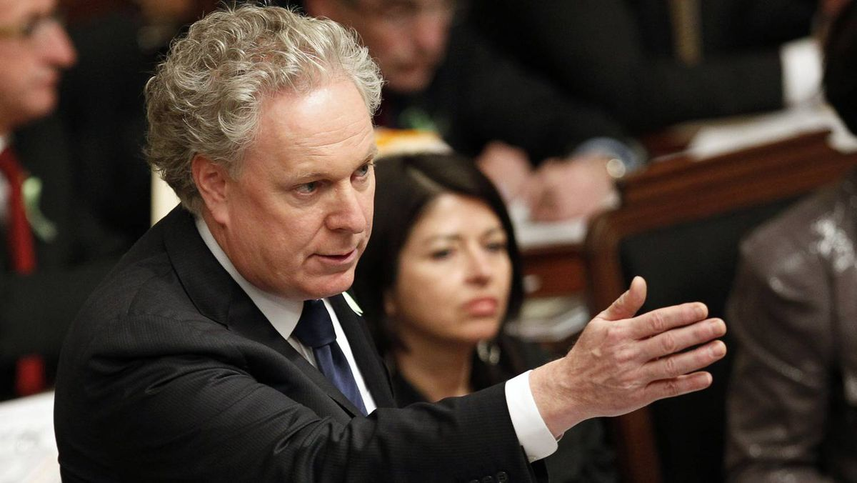 Quebec's Premier Jean Charest speaks during the questions period at the National Assembly in Quebec City February 14, 2012.