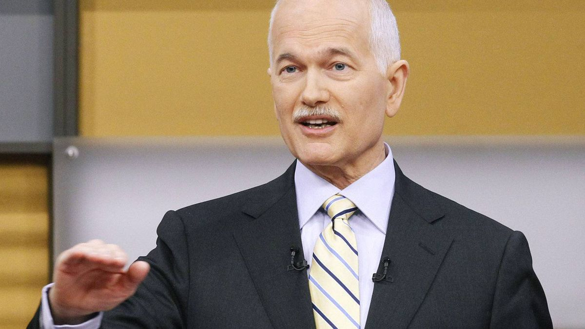 New Democratic Party leader Jack Layton answers a question during a televised English language federal election debate in Ottawa, Ontario, Canada, on April 12, 2011. Canada's embattled prime minister is facing off with opposition leaders in the first of two televised debates hoping to sway crucial undecided voters ahead of a May 2 election.