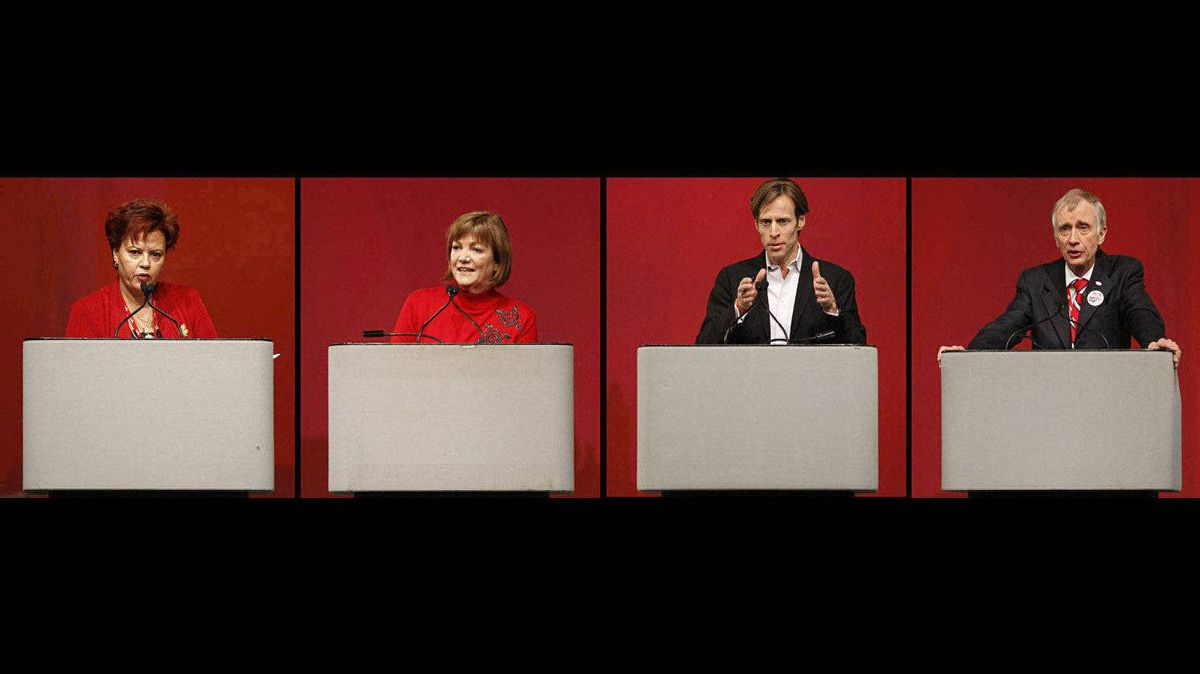 A composite photo shows the four candidates for National President of the Liberal Party of Canada during their debate at the Liberal Convention in Ottawa. They are, left to right, Alexandra Mendes, Sheila Copps, Mike Crawley, and Ron Hartling.