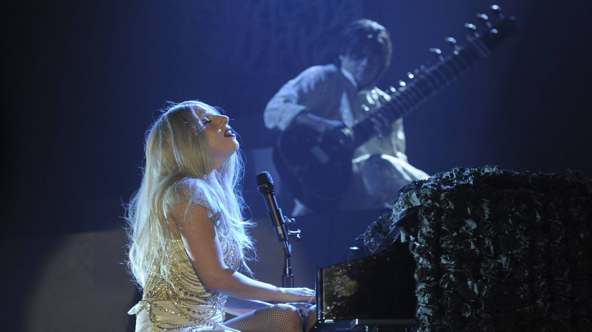 Lady Gaga performs at a concert on the outskirts of New Delhi.