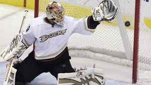 Anaheim Ducks goalie Ray Emery (29) can't stop the goal shot by Dallas Stars Alex Goligoski during the second period of an NHL hockey game in Dallas, Wednesday, March 23, 2011.