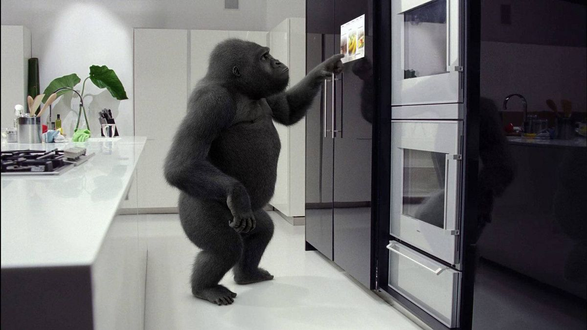 Corning launched its consumer campaign for Gorilla Glass in late 2010 with a trio of ads featuring a gorilla using high-tech products as part of his day: a cellphone, or a TV built into a fridge door.
