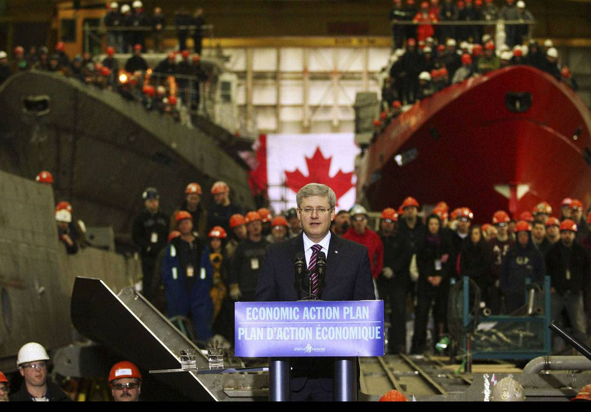Canadian Prime Minister Stephen Harper speaks to workers at the Halifax Shipyard in Halifax, Nova Scotia. Harper announced an agreement in principle for the yard to construct warships for the Canadian Navy.