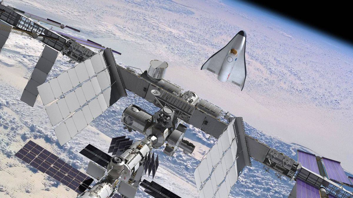 Orbital's proposed space vehicle for NASA's Commercial Crew Development-2 program is depicted in rendezvous and berthing operations with the International Space Station.