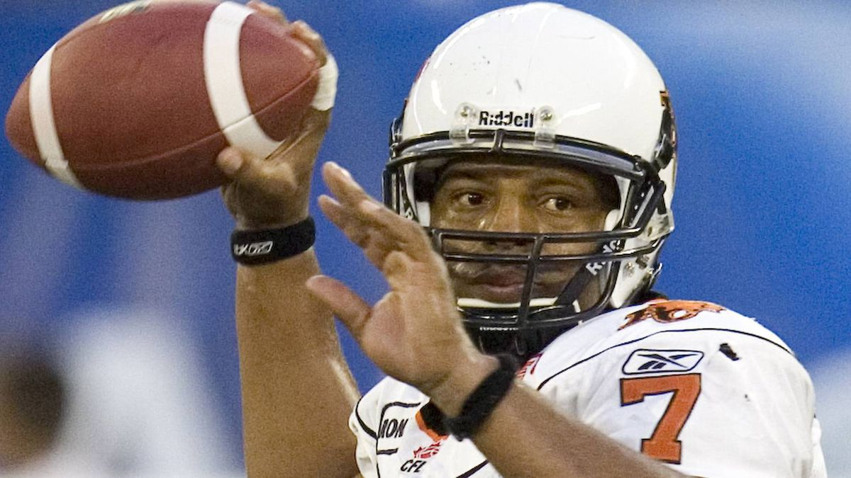 B.C. Lions quarterback Jarious Jackson works during first quarter CFL action against the Toronto Argonauts in Toronto, on Friday, August 14, 2009.