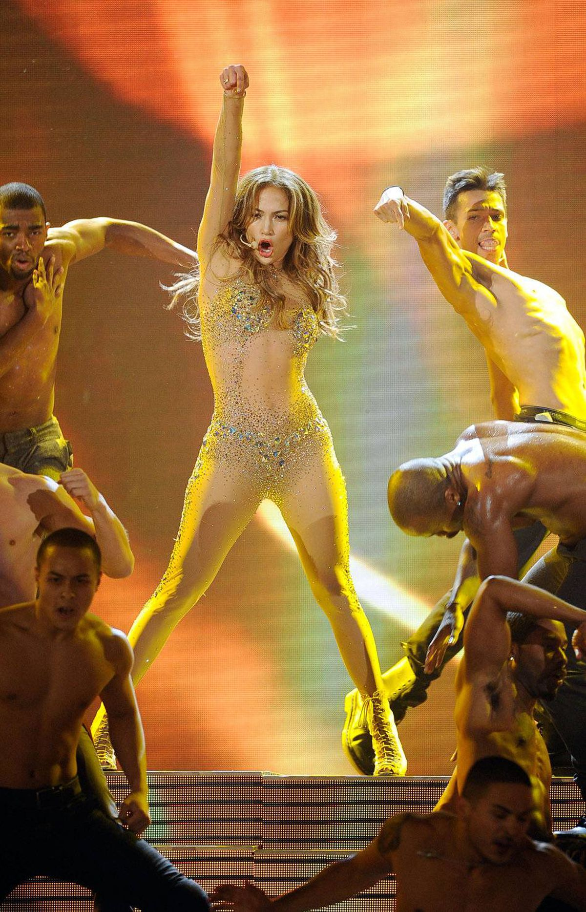 Singer Jennifer Lopez performs onstage at the 2011 American Music Awards held at Nokia Theatre L.A. LIVE on November 20, 2011 in Los Angeles, California.