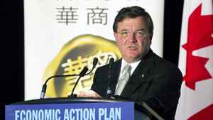 Canada's Federal Minister of Finance, Jim Flaherty, speaks to the Chinese Business Association as he gives an update on the Canadian government's economic and fiscal projections, in Mississauga, Ont., October 12, 2010.