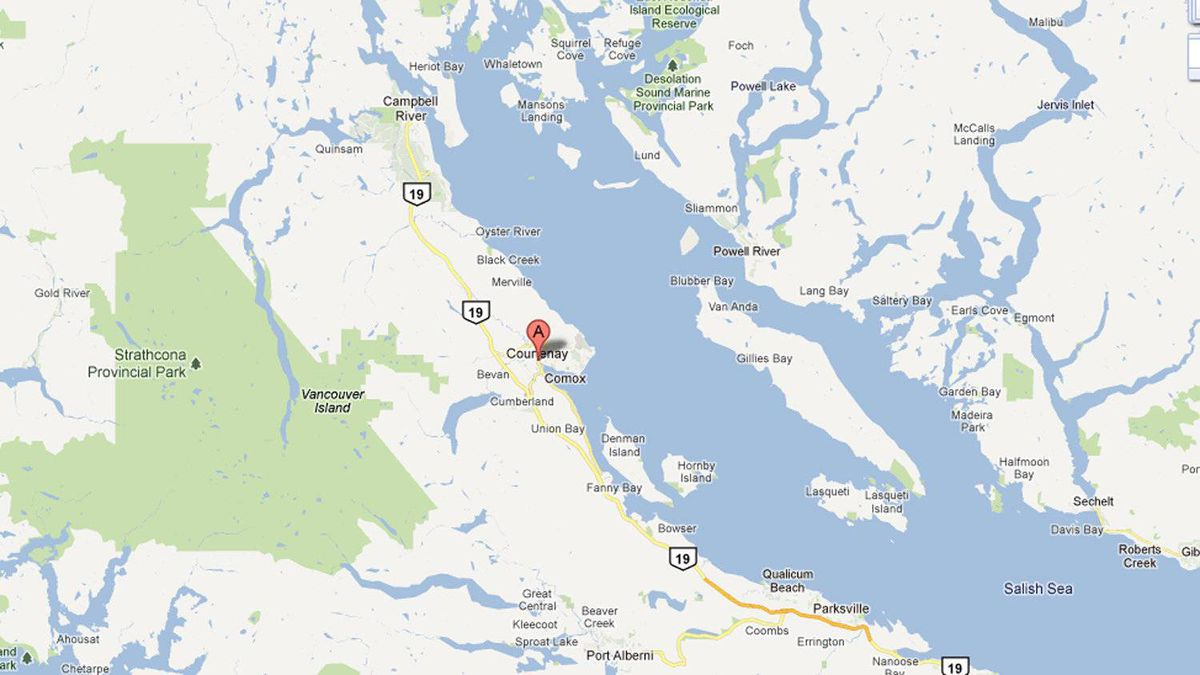 Courtenay, B.C., the general area in which an elderly couple went missing in September, is pictured in this Google Map screengrab