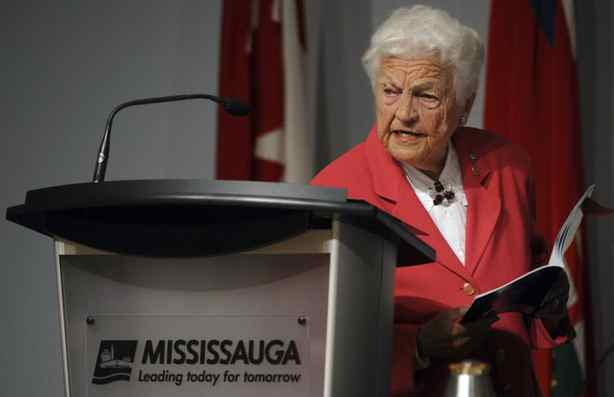 Mississauga mayor Hazel McCallion studies an executive summary on Oct. 3 2011, after the findings of a judicial inquiry were made public.