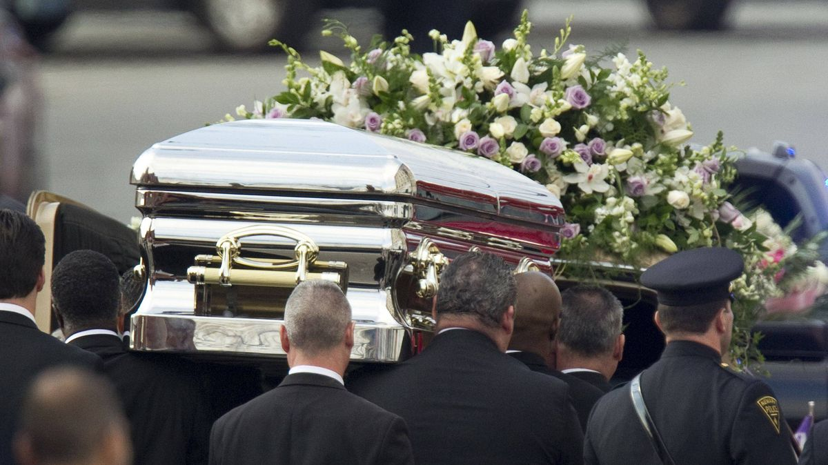 Pallbearers carry Whitney Houston's casket to a hears after the funeral service in Newark, N.J., on Saturday.