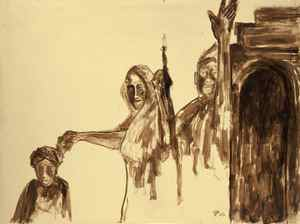"""THE LAST HARVEST PAINTINGS BY RABINDRANATH TAGORE *Untitled, ink and brush over pencil and paper, 1934 (code: 00-1853-16) Dickenson: """"Sometimes Tagore put into caricature what he could not say publicly about human behaviour, because it would be politically incorrect to be comical about his fellow citizens."""" Untitled Ink and brush over pencil on paper 55.9 x 74.8 cm 16-10-1934 Collection of Rabindra Bhavana Acc. No. 00-1853-16"""