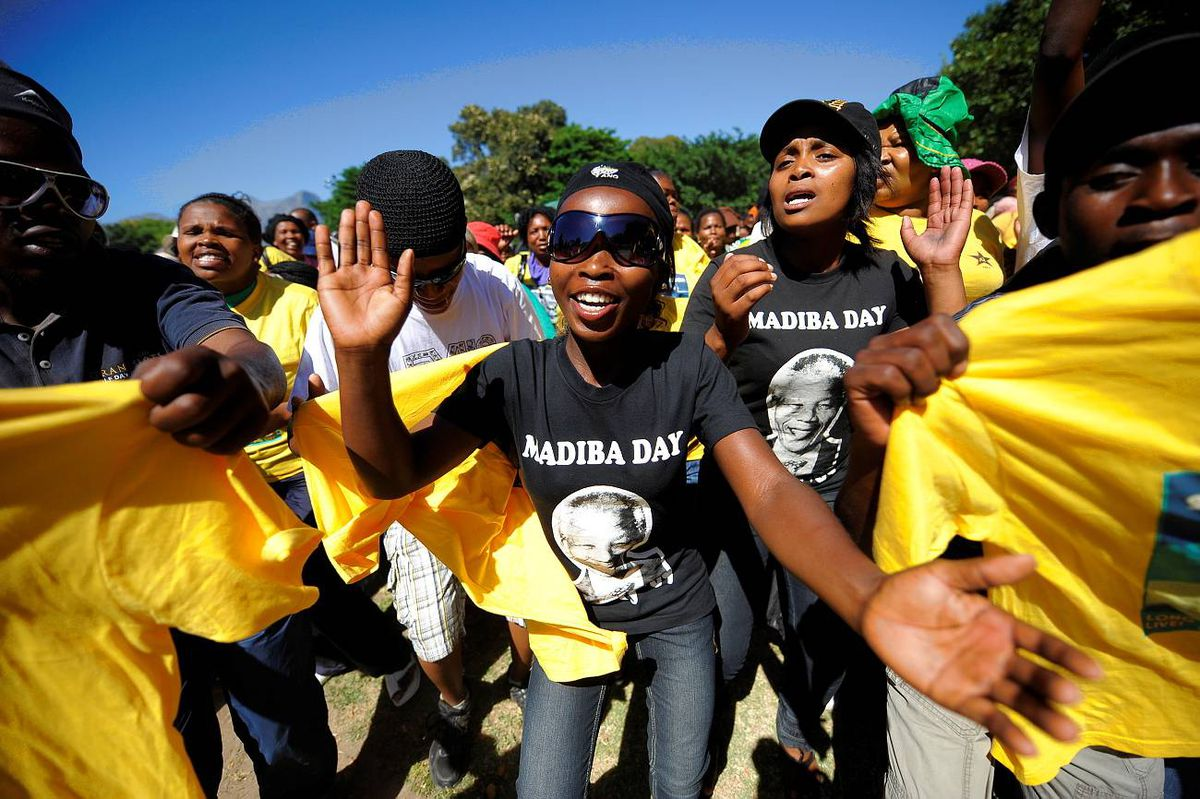 Supporters of South Africa's ruling African National Congress (ANC) party dance on February 11, 2010 during celebrations, marking the 20th anniversary of former South African President and Nobel peace prize laureate Nelson Mandela's release from jail.