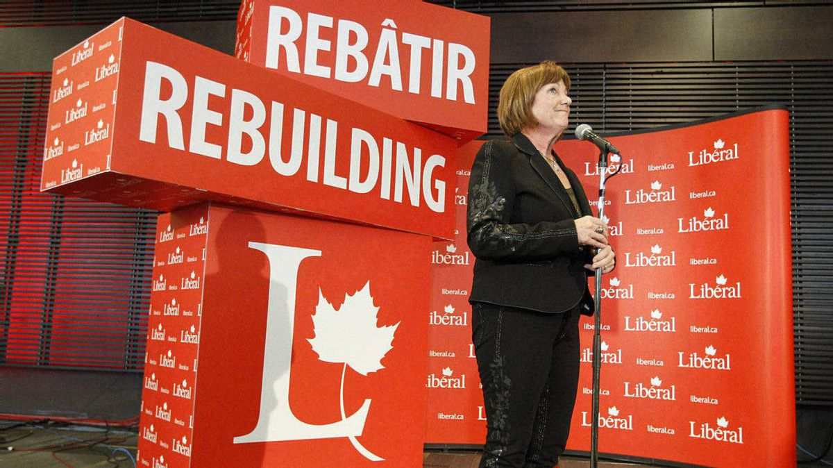 Sheila Copps, candidate for President of the Liberal Party, speaks to the media during the Liberal Convention in Ottawa.