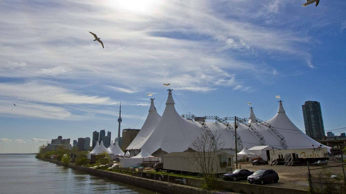 The big-top-style tent for Cavalia's Odysseo nears completion next to Lake Ontario in downtown Toronto.