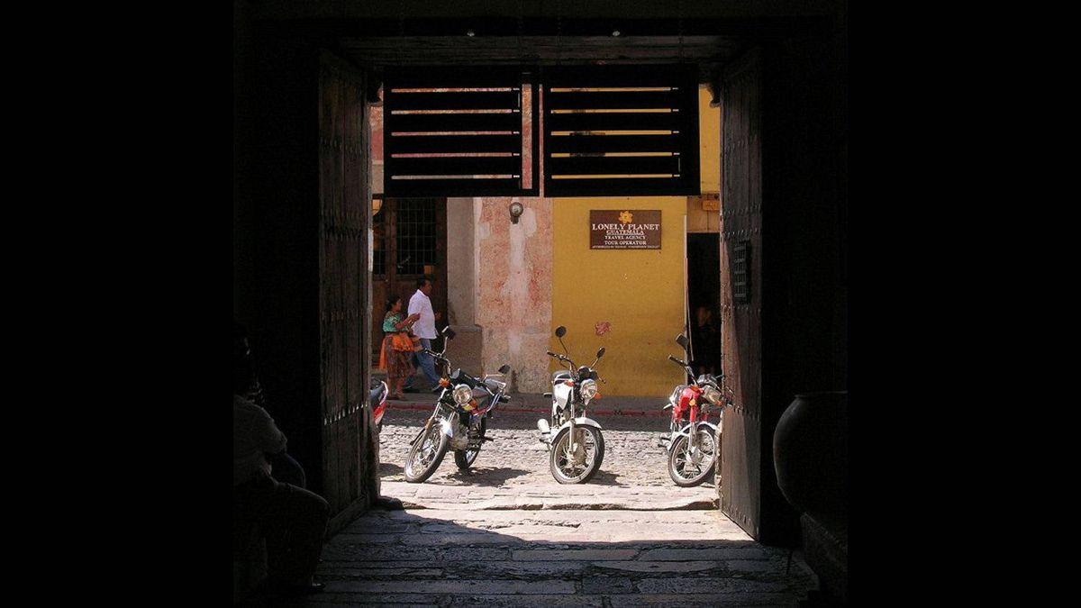 Trudy Milligan photo: Motorbikes - Motorbikes on the cobblestone streets of Antigua Guatemala. March 2008