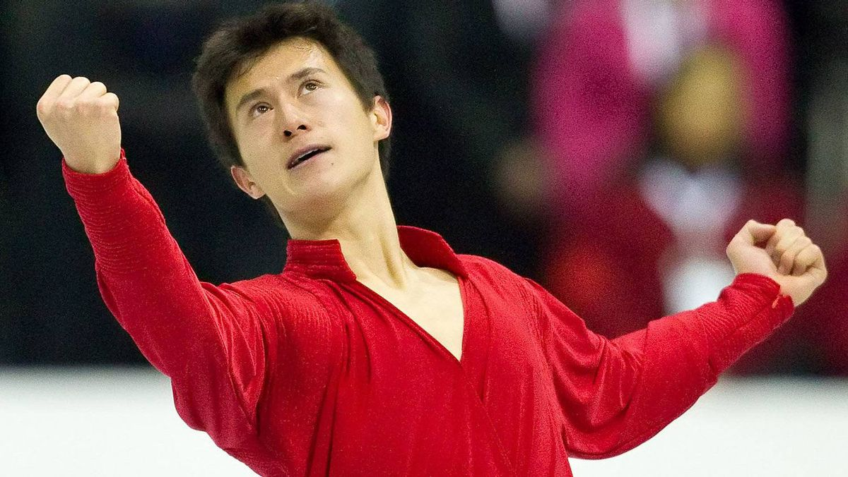Patrick Chan of Canada finishes his free skate at Skate Canada International, in Mississauga, Ontario, October 29, 2011. Getty Images/ Geoff ROVINS