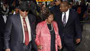 Joe and Katherine Jackson, Michael Jackson's parents, arrive for the reading of the verdict in Dr. Conrad Murray's trial.