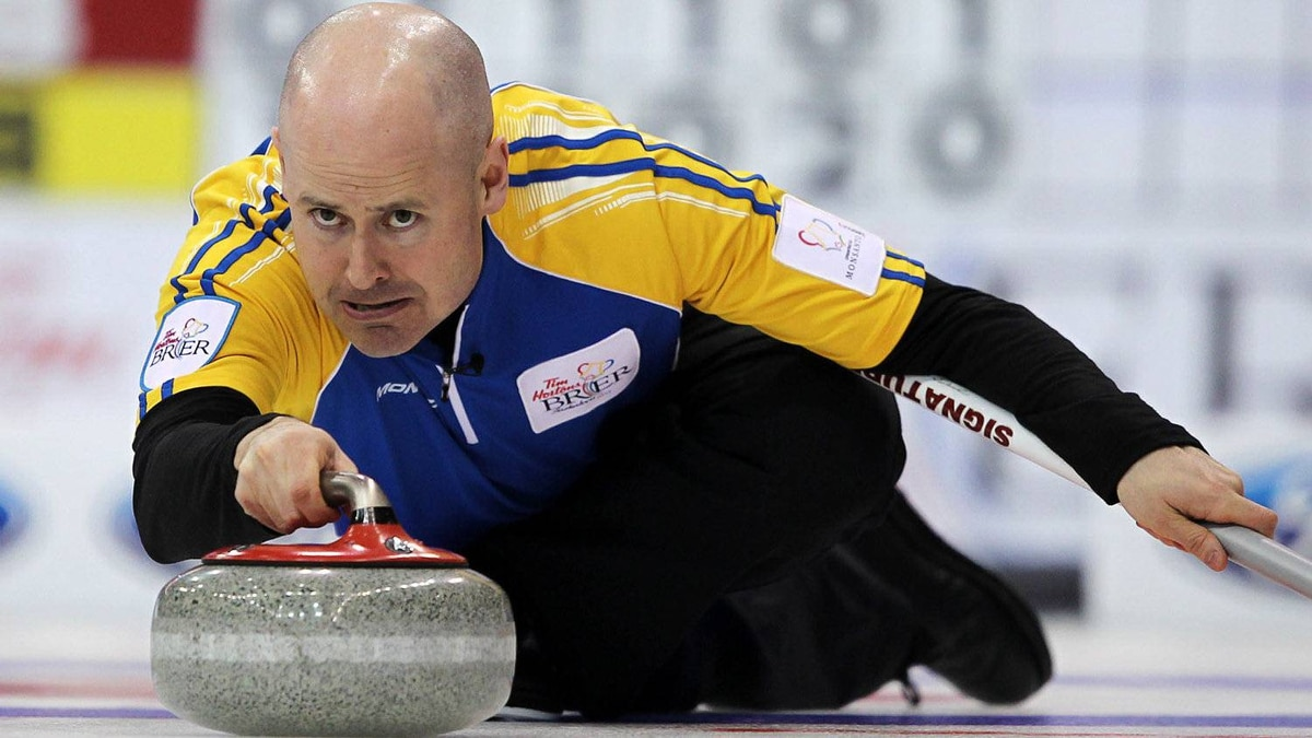 Alberta skip Kevin Koe makes a shot during a morning draw against New Brunswick at the Tim Hortons Brier in Saskatoon, March, 4, 2012.